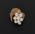 Estate Jewelry:Pearls, Cultured Pearl & Gold Brooch. ...