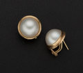 Estate Jewelry:Pearls, Cultured Mabe & 18k Gold Earrings. ...