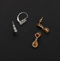 Estate Jewelry:Earrings, Diamond Gold Earrings & Citrine Gold Earrings. ... (Total: 2Items)