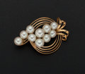 Estate Jewelry:Pearls, Cultured Pearl Gold Brooch. ...