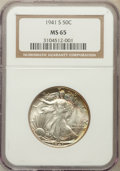 Walking Liberty Half Dollars: , 1941-S 50C MS65 NGC. NGC Census: (917/220). PCGS Population(2224/446). Mintage: 8,098,000. Numismedia Wsl. Price for probl...