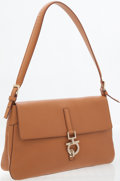 Luxury Accessories:Bags, Ferragamo Light Brown Leather Shoulder Bag with Silver GancioClasp. ...