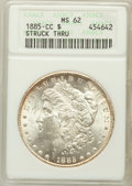 Morgan Dollars: , 1885-CC $1 -- Struck Thru -- MS62 ANACS. NGC Census: (803/8145).PCGS Population (1473/16596). Mintage: 228,000. Numismedia...