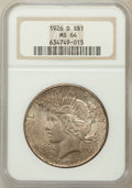 Peace Dollars: , 1926-D $1 MS64 NGC. NGC Census: (994/593). PCGS Population(1550/850). Mintage: 2,348,700. Numismedia Wsl. Price for proble...
