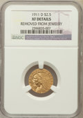 Indian Quarter Eagles, 1911-D $2 1/2 -- Removed from Jewelry -- NGC Details. XF....