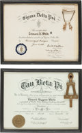 Explorers:Space Exploration, Ed White II: Two Fraternity Certificates, Two Keys, and One DesktopEmblem from his Personal Collection. ... (Total: 4 )
