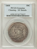 Bust Half Dollars: , 1808 50C -- Cleaned -- PCGS Genuine. XF Details. NGC Census:(41/309). PCGS Population (81/325). Mintage: 1,368,600. Numism...