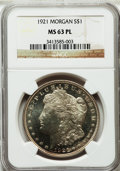Morgan Dollars: , 1921 $1 MS63 Prooflike NGC. NGC Census: (272/331). PCGS Population(117/104). Numismedia Wsl. Price for problem free NGC/P...