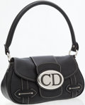 Luxury Accessories:Bags, Christian Dior Black Leather Bag with White Stitching and SilverHardware. ...