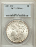 Morgan Dollars: , 1881-CC $1 MS64+ PCGS. PCGS Population (6980/5837). NGC Census:(3325/3034). Mintage: 296,000. Numismedia Wsl. Price for pr...