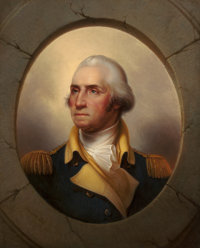 REMBRANDT PEALE (American, 1778-1860) George Washington, circa 1856 Oil on canvas 36-1/2 x 29 inc