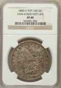 Morgan Dollars: , 1888-O $1 Doubled Die Obverse XF40 NGC. Top-100, Vam-4 Hot Lips.PCGS Population (61/224). ...