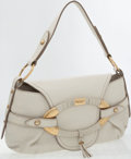 Luxury Accessories:Bags, Tod's White Leather Classic Shoulder Bag with Gold Hardware. ...