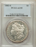 Morgan Dollars: , 1883-S $1 AU55 PCGS. PCGS Population (672/3068). NGC Census:(715/2322). Mintage: 6,250,000. Numismedia Wsl. Price for prob...