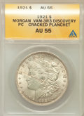 Morgan Dollars, 1921 $1 -- Cracked Planchet -- AU55 ANACS. Discovery Piece,Vam-3R3....