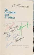 Autographs:Celebrities, Konstantin Tsiolkovsky: Le Chemin Des Étoiles (The Pathof Stars) Book Signed by the First Nine Milita...