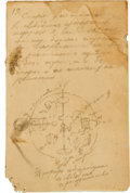 "Autographs:Celebrities, Konstantin Tsiolkovsky 1883 Autograph Manuscript Signed, with ""FreeSpace"" Drawing...."