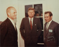 Autographs:Celebrities, Gherman Titov Signed Color Photo with John F. Kennedy and JohnGlenn....