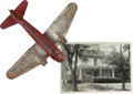 Explorers:Space Exploration, Neil Armstrong's Childhood Toy Airplane and Signed Photo of his Family Home at 601 W. Benton Street in Wapakoneta, Ohio.... (Total: 3 Items)