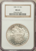 Morgan Dollars: , 1881-CC $1 MS63 NGC. NGC Census: (2054/6359). PCGS Population(4082/12829). Mintage: 296,000. Numismedia Wsl. Price for pro...