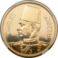 Egypt, Egypt: Farouk gold Proof 500 Piastres 1938,...