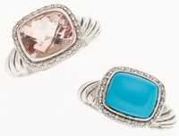 David Yurman Set of Two; Sterling Silver Turquoise and Diamond Ring, Sterling Silver Pink Tourmeline and Diamond Ring