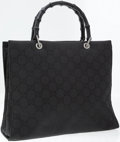 Luxury Accessories:Bags, Gucci Black Monogram Canvas Tote Bag with Black Bamboo Top Handles....