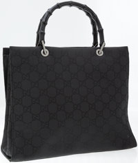 Gucci Black Monogram Canvas Tote Bag with Black Bamboo Top Handles