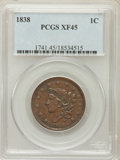 Large Cents: , 1838 1C XF45 PCGS. PCGS Population (53/458). NGC Census: (21/576).Mintage: 6,370,200. Numismedia Wsl. Price for problem fr...