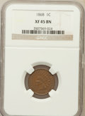 Indian Cents: , 1868 1C XF45 NGC. NGC Census: (47/322). PCGS Population (67/274).Mintage: 10,266,500. Numismedia Wsl. Price for problem fr...