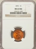 Indian Cents: , 1895 1C MS63 Red NGC. NGC Census: (7/222). PCGS Population(19/297). Mintage: 38,343,636. Numismedia Wsl. Price for problem...