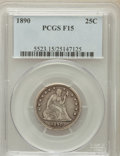 Seated Quarters: , 1890 25C Fine 15 PCGS. PCGS Population (2/201). NGC Census:(0/172). Mintage: 80,000. Numismedia Wsl. Price for problem fre...
