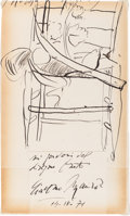 Autographs:Artists, Giacomo Manzu Sketch and Signature....