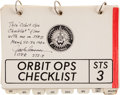 Explorers:Space Exploration, Space Shuttle Columbia (STS-3) Flown Orbit Ops Checklist Book Directly from the Personal Collection of...