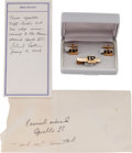 Explorers:Space Exploration, Apollo 11 Flown GE Apollo Cufflinks and Tie Clip Originally from the Personal Collection of Mission Command Module Pilot Micha...