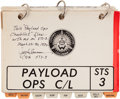 Explorers:Space Exploration, Space Shuttle Columbia (STS-3) Flown Payload Ops Checklist Book Directly from the Personal Collection ...