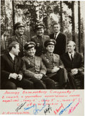 Autographs:Celebrities, Soyuz 6, 7, & 8: B&W Photo Signed by all SevenCosmonauts....