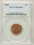 Indian Cents: , 1883 1C MS64 Brown PCGS. PCGS Population (65/17). NGC Census:(84/68). Mintage: 45,598,108. Numismedia Wsl. Price for probl...