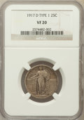 Standing Liberty Quarters: , 1917-D 25C Type One VF20 NGC. NGC Census: (12/542). PCGS Population(20/940). Mintage: 1,509,200. Numismedia Wsl. Price for...