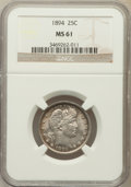 Barber Quarters: , 1894 25C MS61 NGC. NGC Census: (11/116). PCGS Population (7/132).Mintage: 3,432,972. Numismedia Wsl. Price for problem fre...