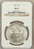 Morgan Dollars: , 1903 $1 MS62 NGC. NGC Census: (711/9364). PCGS Population(740/11064). Mintage: 4,652,755. Numismedia Wsl. Price forproble...