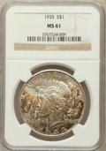 Peace Dollars: , 1935 $1 MS61 NGC. NGC Census: (235/5284). PCGS Population(177/6493). Mintage: 1,576,000. Numismedia Wsl. Price forproblem...