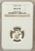 Mercury Dimes: , 1944-D 10C MS67 Full Bands NGC. NGC Census: (1240/20). PCGSPopulation (1179/79). Mintage: 62,224,000. Numismedia Wsl. Pric...