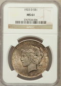 Peace Dollars: , 1923-D $1 MS61 NGC. NGC Census: (170/2562). PCGS Population(125/3920). Mintage: 6,811,000. Numismedia Wsl. Price for probl...