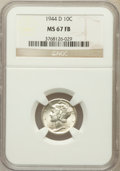 Mercury Dimes: , 1944-D 10C MS67 Full Bands NGC. NGC Census: (1241/20). PCGSPopulation (1179/79). Mintage: 62,224,000. Numismedia Wsl. Pric...