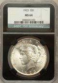 Peace Dollars, 1923 $1 MS64 NGC. 25th Anniversary Holder. NGC Census:(131477/37210). PCGS Population (75188/16751). Mintage: 30,800,000....