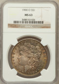 Morgan Dollars: , 1900-O $1 MS63 NGC. NGC Census: (9998/25815). PCGS Population(10686/22932). Mintage: 12,590,000. Numismedia Wsl. Price for...