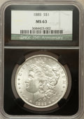 1885 $1 MS63 NGC. 25th Anniversary Holder. NGC Census: (19842/41684). PCGS Population (19057/33363). Mintage: 17,787,768...
