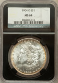 Morgan Dollars, 1904-O $1 MS64 NGC. 25th Anniversary Holder. NGC Census:(58618/17217). PCGS Population (46396/11354). Mintage: 3,720,000....