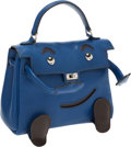 Luxury Accessories:Bags, Hermes Limited Edition Bleu Sapphir Gulliver Leather Quelle Idole Mini Kelly Bag. ...